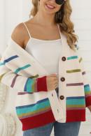 Rainbow Striped Knit Cardigan