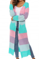 Rainbow Striped  Long  Cardigan