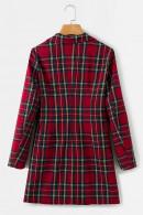 Red Grid Lapel Coat