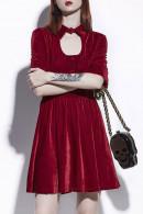 Red Velvet Short Dress