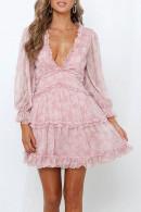 Ruffle Floral Chiffon Dress