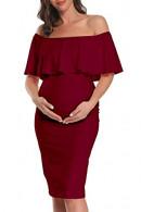 Ruffled Maternity Midi Dress