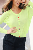 Scoop Colorful Button Cardigan