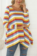 Scoop Flounce Striped Blouse