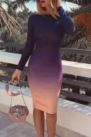 Scoop Long Sleeves Backless Dress