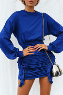 Scoop Solid Long Sleeves Dress