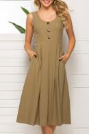 Scoop Zipper Sleeveless Dress
