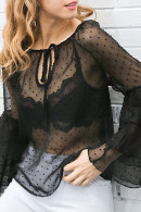 See-through Flounce Sleeves Tops