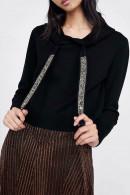 Sequin Drawstring Knit Hoodie