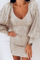 Sequin V-neck Puff Sleeve Dress