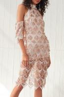 Sequined Halter Slit Dress