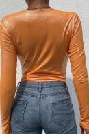 Sexy Orange V-neck Bodysuit
