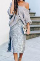 Side Split Sequin Skirt