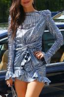 Silver Ruffle Wrap Dress