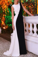 Sleeveless Color Block Prom Dress