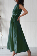 Sleeveless Lace-up Slit Maxi Dress