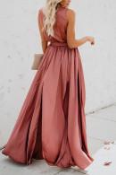 Sleeveless Lace-up Slit Maxi Dress