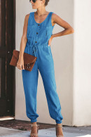 Sleeveless Pockets Cinched Jumpsuit