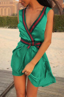 Sleeveless V-Neck Flounce Dress