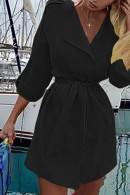 Solid Belted Shirt Dress