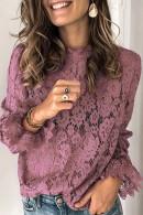Solid Color Lace Blouse