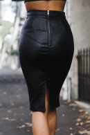 Solid Fitted PU Skirt