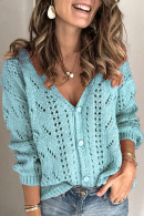 Solid  Hollow Knit  Cardigan