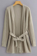 Solid Knit String Cardigan