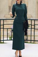 Solid Scoop Backless Slit Dress