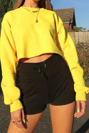 Solid Scoop Crop Sweatshirt