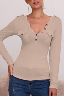 Solid V-neck Buttoned T-shirt