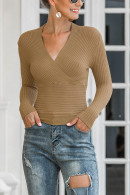 Solid V-neck Ribbed Sweater