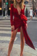 Solid  V-neck Slit Dress