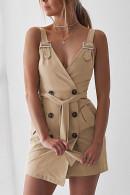 Solid V-neck Wrap Dress