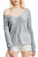 Solid V Neck Sweater
