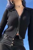 Solid Zipper Crop Knit Top