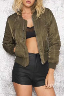 Solid Zipper Short Jacket