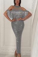 Sequin Off Shoulder Tasseled Dress