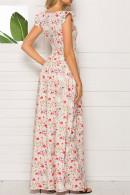 Square Print Long Dress