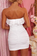 Strapless Ruffles Ruched Short Dress