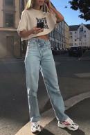 Street Asymmetric Waist Jeans