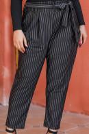 Striped Belt Casual Pants