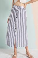Striped Button Long Skirt