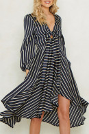 Striped Knot Front Midi Dress