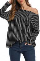 Striped Off Shoulder T-shirt