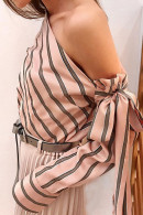 Striped One-shoulder Knot Top