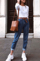 Striped One Button Jeans
