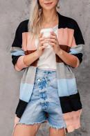 Striped  Pockets  Kit  Cardigan