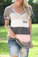 Striped Pockets Patch T-shirt