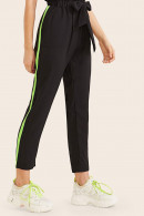 Striped Side Tie Front Pants